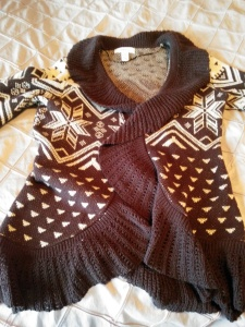 I told Mom that Aztec print cardigans were In style and she dug this one out.