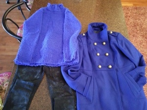 Mom saw that cobalt colored fashions were in this fall on jseverdayfashion.com.  She pulled these items out.  The coat was found on a spring clearance rack for $5 at Kmart a couple years ago.  The skinny jeans are black with splashes of cobalt and are from Shopko for $7.