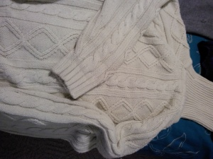 This is an old but classic cable knit she dug out of her sweater collection...always in style it seems.