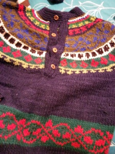 Nostalgic 20 year old wool hand made sweater that she has held on to since I was in high school.